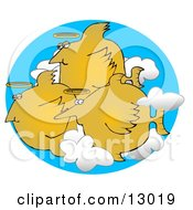 Group Of Angel Fish With Halos Swimming In The Clouds Clipart Graphic Illustration