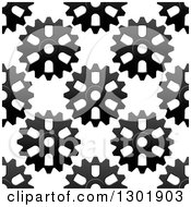Clipart Of A Seamless Background Pattern Of Grayscale Gear Cogs 3 Royalty Free Vector Illustration