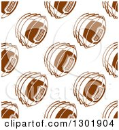 Background Pattern Of Seamless Brown Flying Footballs On White