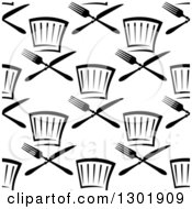 Clipart Of A Seamless Black And White Pattern Of Chef Hats And Cutlery 2 Royalty Free Vector Illustration