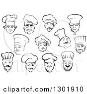 Clipart Of Black And White Male Chef Faces 3 Royalty Free Vector Illustration