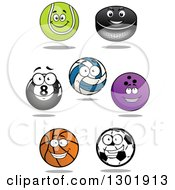 Clipart Of Cartoon Happy Sports Ball Characters Royalty Free Vector Illustration