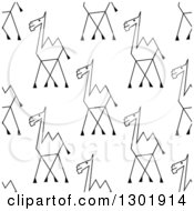 Clipart Of A Seamless Pattern Background Of Sketched Black And White Camels Royalty Free Vector Illustration