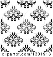 Clipart Of A Black And White Vintage Seamless Floral Background Pattern 4 Royalty Free Vector Illustration