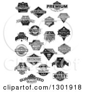 Clipart Of Black And White Quality Labels Royalty Free Vector Illustration