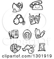 Clipart Of Black And White Communications Icons Royalty Free Vector Illustration