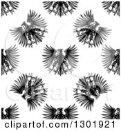 Clipart Of A Seamless Pattern Background Of Black Heraldic Eagles Royalty Free Vector Illustration