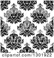 Clipart Of A Seamless Pattern Background Of Vintage Damask In Black On White Royalty Free Vector Illustration by Vector Tradition SM