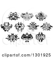 Clipart Of Black And White Vintage Floral Design Elements 6 Royalty Free Vector Illustration by Vector Tradition SM