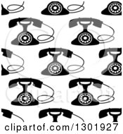 Clipart Of A Seamless Background Pattern Of Black And White Retro Telephones Royalty Free Vector Illustration