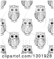 Clipart Of A Seamless Background Pattern Of Black And White Sketched Owls 2 Royalty Free Vector Illustration