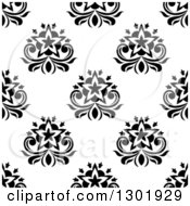 Clipart Of A Black And White Vintage Seamless Floral Background Pattern 5 Royalty Free Vector Illustration