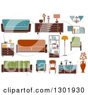 Clipart Of Colorful Retro Household Furniture Royalty Free Vector Illustration