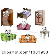 Clipart Of Cartoon Happy Furniture Characters Royalty Free Vector Illustration