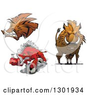 Clipart Of Cartoon Aggressive Boars Royalty Free Vector Illustration