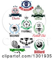 Clipart Of Ice Hockey Darts Tennis Soccer Billiards And Tennis Sports Designs With Text Royalty Free Vector Illustration