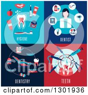 Clipart Of Flat Modern Dental Icon Designs With Text Royalty Free Vector Illustration