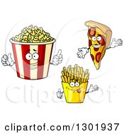 Clipart Of Cartoon Popcorn Bucket French Fry And Pizza Characters Royalty Free Vector Illustration