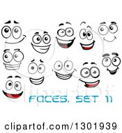 Clipart Of Faces With Different Expressions And Text 10 Royalty Free Vector Illustration