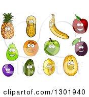 Clipart Of Cartoon Pineapple Peanut Banana Apple Pear Orange Plum Avocado Lemon And Melon Characters Royalty Free Vector Illustration