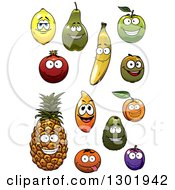 Clipart Of Happy Smiling Fruit Characters Royalty Free Vector Illustration