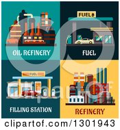 Flat Modern Designs Of Gas Stations And Oil Refineries