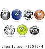 Clipart Of Sports Ball Characters Royalty Free Vector Illustration