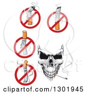 Clipart Of A Skull And No Smoking Cigarette Designs Royalty Free Vector Illustration