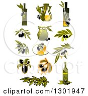 Clipart Of Olive And Oil Designs 2 Royalty Free Vector Illustration
