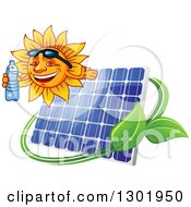 Clipart Of A Happy Sun Holding A Bottled Water And Presenting Over A Solar Panel Swoosh And Leaves Royalty Free Vector Illustration