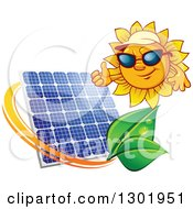 Clipart Of A Sun Character Wearing Shades And A Visor Hat And Giving A Thumb Up Over A Solar Panel Encircled With A Swoosh And Green Leaves Royalty Free Vector Illustration