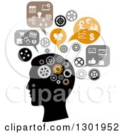 Clipart Of A Silhouetted Mans Head Thinking Of Finance And Business Royalty Free Vector Illustration