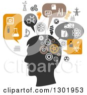 Clipart Of A Silhouetted Mans Head Thinking Of Science And Chemistry Royalty Free Vector Illustration by Vector Tradition SM