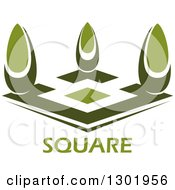 Clipart Of A Green Courtyard With Trees And Text Royalty Free Vector Illustration