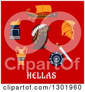 Clipart Of A Flat Modern Design Of Ancient Greece Items Over Text On Red Royalty Free Vector Illustration