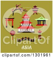 Clipart Of A Flat Modern Design Of A Japanese Pagoda And Items With Text On Green Royalty Free Vector Illustration by Vector Tradition SM