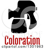 Clipart Of A Black Silhouetted Spray Gun With Text Royalty Free Vector Illustration