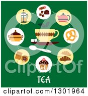 Clipart Of A Flat Modern Design Of Snacks And Tea Icons Over Text On Green Royalty Free Vector Illustration by Vector Tradition SM