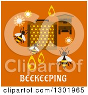 Clipart Of A Flat Modern Design Of Bees And Beekeeping Items On Orange With Text Royalty Free Vector Illustration by Vector Tradition SM