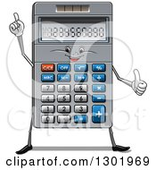 Clipart Of A Cartoon Calculator Character Giving A Thumb Up And Pointing Royalty Free Vector Illustration