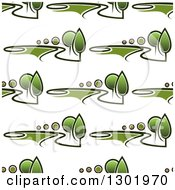 Clipart Of A Seamless Pattern Background Of Driveways Green Trees And Landscapes Royalty Free Vector Illustration