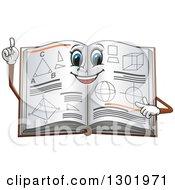 Cartoon Smart Geometry Math Book Holding Up A Finger