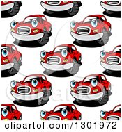 Seamless Pattern Background Of Red Cartoon Car Characters