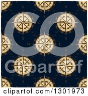 Clipart Of A Seamless Pattern Background Of Beige Compass Roses On Navy Blue Royalty Free Vector Illustration