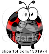 Clipart Of A Cartoon Happy Chubby Ladybug Royalty Free Vector Illustration by Vector Tradition SM