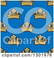 Clipart Of A Seamless Pattern Background Of Gold Crowns On Blue Royalty Free Vector Illustration