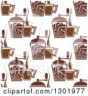 Clipart Of A Seamless Pattern Background Of Brown Coffee Grinders And Cups Royalty Free Vector Illustration