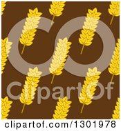 Clipart Of A Seamless Background Patterns Of Gold Wheat On Brown 2 Royalty Free Vector Illustration