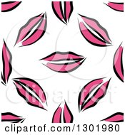 Clipart Of A Seamless Pattern Background Of Pink Lips Royalty Free Vector Illustration by Vector Tradition SM