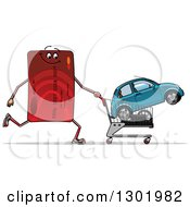 Clipart Of A Cartoon Red Credit Card Character Pushing A Shopping Cart With A Car Royalty Free Vector Illustration
